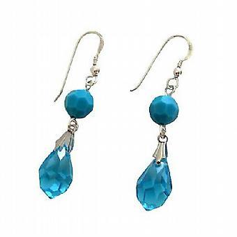 Голубой Аквамарин Swarovski Crystal слезоточивый падение Серьги серебро