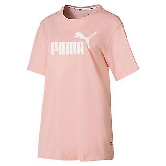 Puma Essential+ Logo Womens Sports Boyfriend T-Shirt Peach