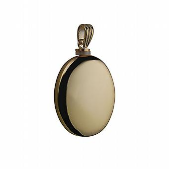 9ct Gold 35x26mm handgefertigte plain Oval Memorial Medaillon