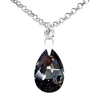 Ah! Jewellery Sterling Silver Silver Night Crystals From Swarovski Pear Necklace