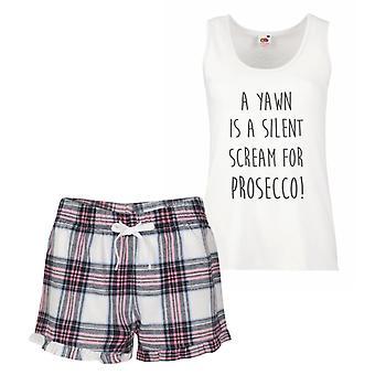En gäspning är ett tyst skrik för Prosecco rosa Tartan Pyjamas