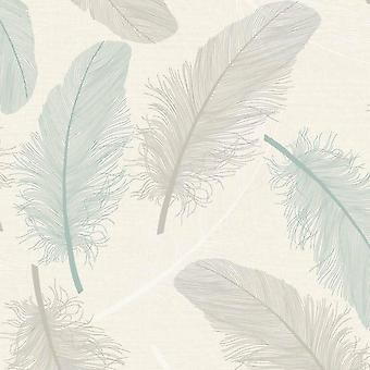 Veren blad patroon behang groen blauw crème glitter motief reliëf metallic Holden
