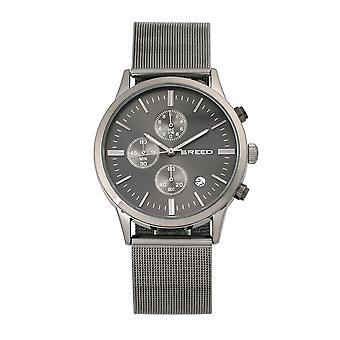 Breed Espinosa Chronograph Mesh-Bracelet Watch w/ Date - Gunmetal/Black