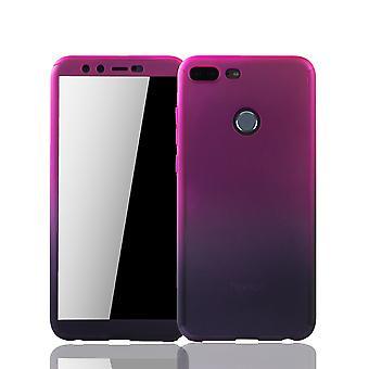 Huawei Honor 9 Lite Handy-Hülle Schutz-Case Panzer Schutz Glas Pink / Violett