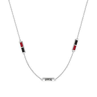 Arizona Diamondbacks Sterling Silver Engraved Triple Station Necklace In Red and Black