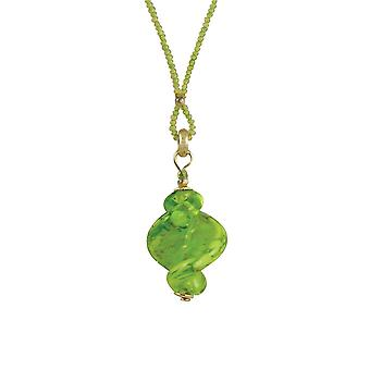 Eternal Collection Sirocco Lime Twisted Murano Glass Pendant Necklace