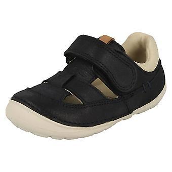 Ragazzi Clarks Trainer Casual Sandali morbidamente Ash - Navy Leather - UK dimensione 6G - EU taglia 22.5 - US dimensioni 6.5 w