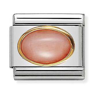Nomination Classic Oval Stone Steel, Pink Coral and 18k Gold Link Charm 030502/10