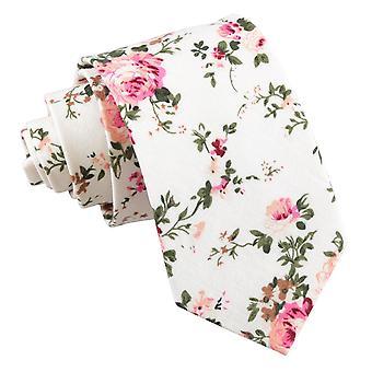 Elfenbein Floral Primrose Baumwolle Slim Krawatte