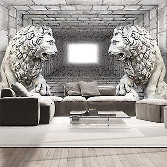 Artgeist Wallpaper Stone Lions (Decoration , Wall murals , Wall murals standard)