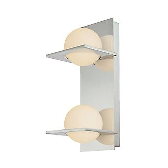 Orbit double lamp vertical vanity with white opal round glass and chrome finish elk lighting