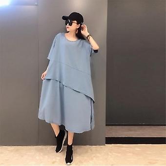 Kurzarm Baumwolle Patchwork Rüschen langes Kleid