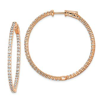 925 Sterling Silver Polished Hinged hoop Safety clasp Rose Gold Flashed Pink Plated With CZ Cubic Zirconia Simulated Dia