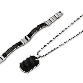 Stainless Steel Brushed Polished Fold over Fancy Lobster Closure Black Carbon Fiber Necklace and Bracelet Set Jewelry Gi