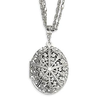Silver tone Fancy Lobster Closure Oval Locket 16 Inch Double Chain Necklace Jewelry Gifts for Women