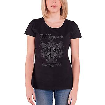 Def Leppard T Shirt Sheffield 1977 Crest Logo Official Womens Skinny Fit Black