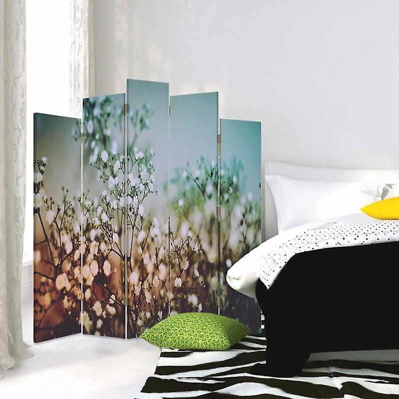 Diviseur de pièce décoratif, 5 panneaux, toile, plantes avec des fleurs blanches