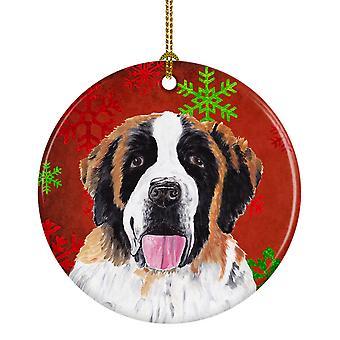 Saint Bernard Red copos de nieve vacaciones Navidad adorno cerámica SC9422