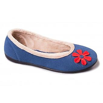 Padders Happy Ladies Felt Wide (e Fit) Ballerina Slippers Blu