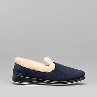 Padders Repose Ladies Microsuede Extra Wide (2e) Full Slippers Navy