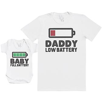 Baby Low Battery & Daddy Full Battery - Matching Set - Baby Bodysuit & Dad T-Shirt