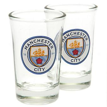 Manchester City FC Crest Shot Glass (Pack de 2)