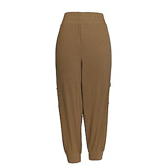 AnyBody Women's Petite Pants Cozy Knit Cargo Pocketed Beige A310165