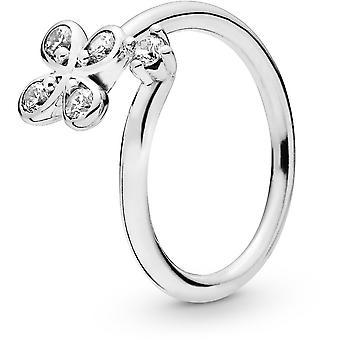 Pandora flores 197988CZ anillo - anillo flor P cuatro cuentos y Bud abrió en mujer de dinero