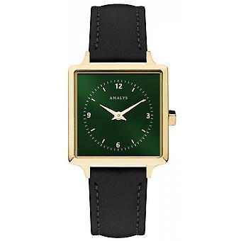 Amalys IRIS Armbanduhr - Stahl IP Dor Zifferblatt grün Armband Leder schwarz woman