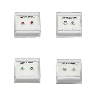 Sterling Silver Crystal Stud Multipack Earrings