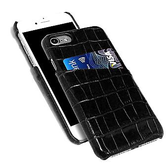 For iPhone 8,7 Case,iCoverLover Crocodile Shell Genuine Cow Leather Cover,Black
