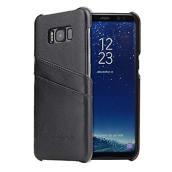 Para Samsung Galaxy S8 Case, Moda Elegante Capa de Couro Genuína Artesanal, Preto