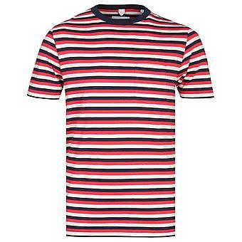 Albam Classic Multi Stripe Czerwony i granatowy t-shirt