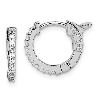 14k Madi K White Gold CZ Cubic Zirconia Simulated Diamond Hinged Hoop Earrings Jewelry Gifts for Women