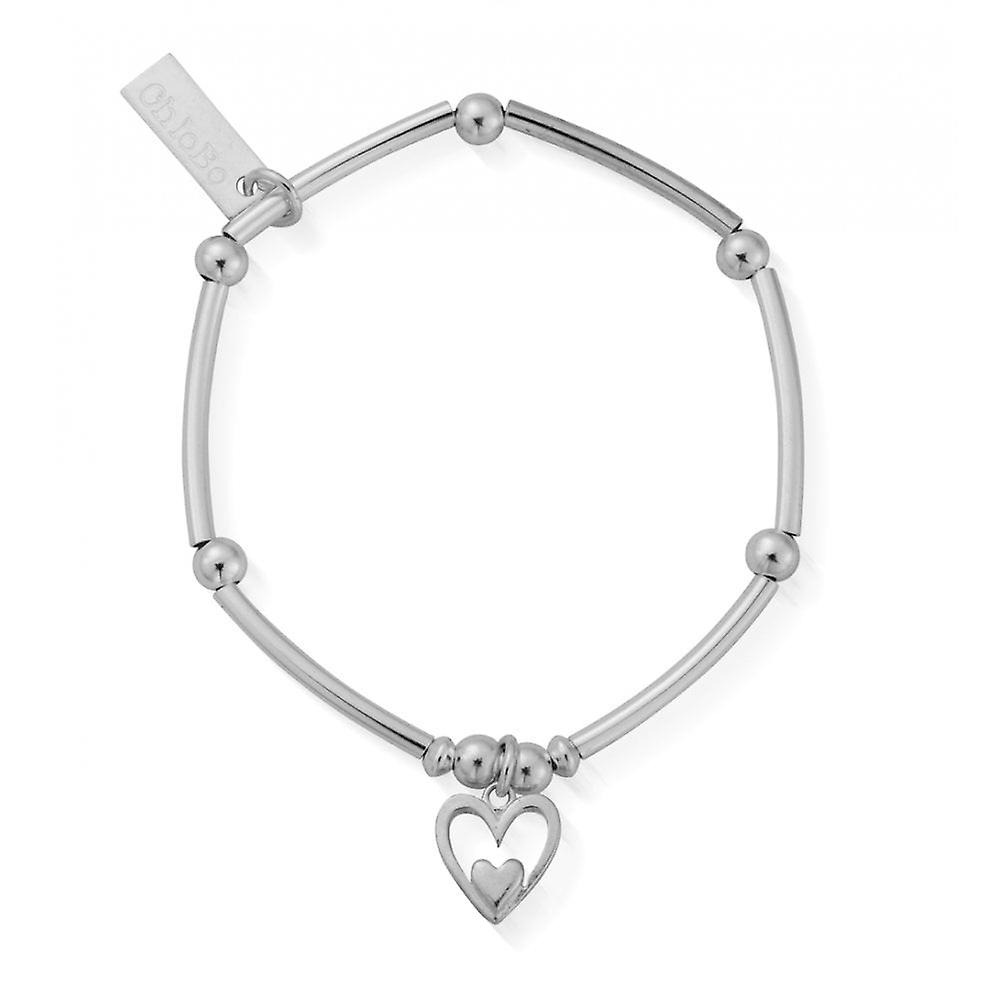 ChloBo Children's Silver Mini Noodle Ball Heart In Heart Bracelet