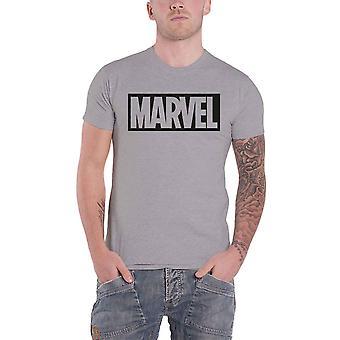 Official Marvel Comics T Shirt Classic Boxed Logo New Mens Grey