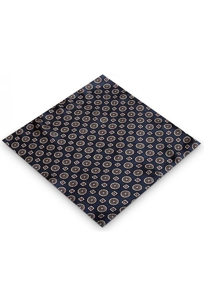 JSS Blue Aztec Silk Pocket Square