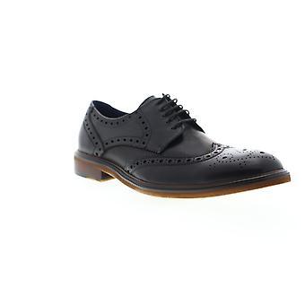 Zanzara Roman  Mens Black Leather Casual Lace Up Oxfords Shoes
