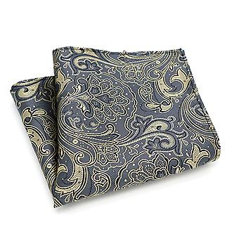 Gun metal grey paisley pattern pocket square hanky