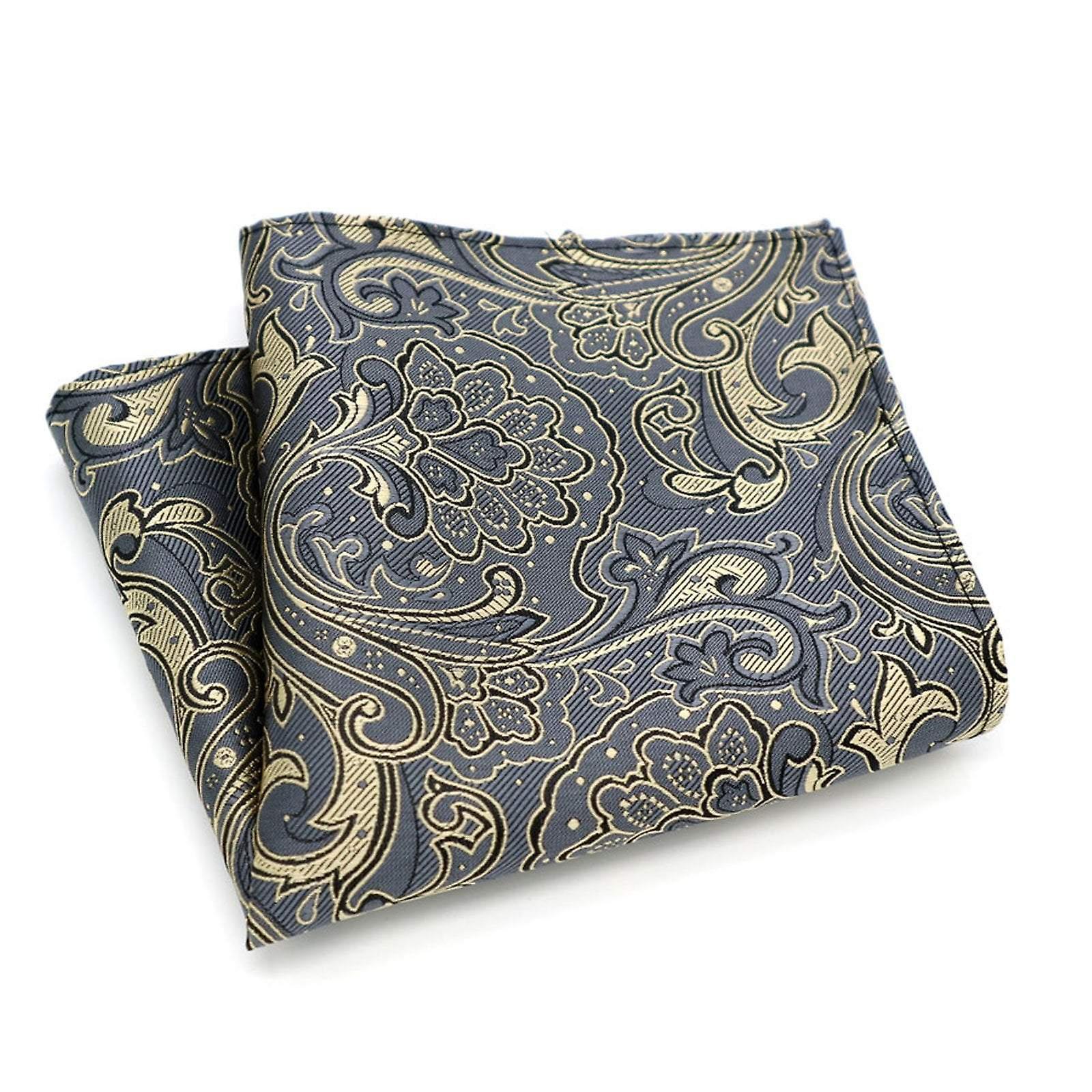 Gun metal grey paisley pattern pocket square hanky