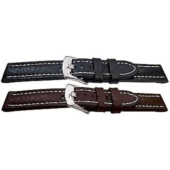 Premier buffalo grain watch alça flat branco pesado costurado