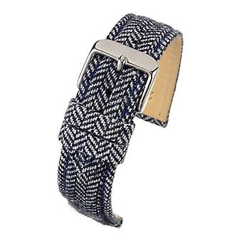 Fabric watch strap blue tweed stainless steel buckle size 18mm to 22mm