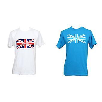 Mens London Union Jack drucken Kurzarm T-Shirt/Top