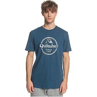 Palavras quiksilver permanecem de manga curta t-shirt em majolica azul