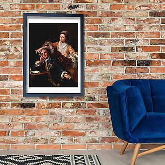 William Hogarth - Portrait in Orange and Blue Poster Print Giclee