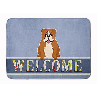 English Bulldog Red White Welcome Machine Washable Memory Foam Mat