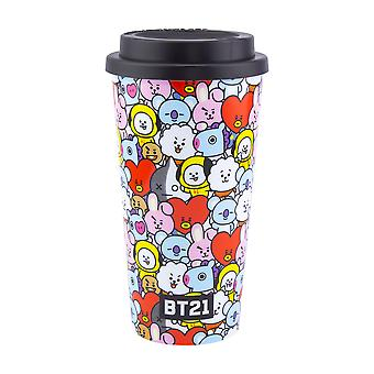 BT21 Travel Mug Character Collage Style Flask for Commuters 450ml