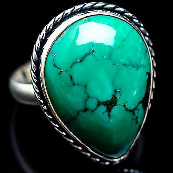 Large Tibetan Turquoise Ring Size 15 (925 Sterling Silver)  - Handmade Boho Vintage Jewelry RING2813