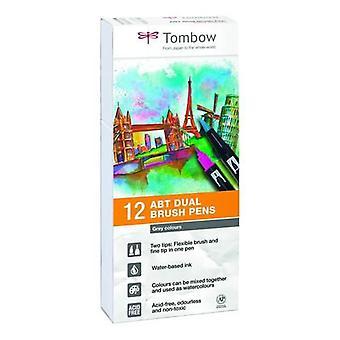 Tombow ABT Dual Brush Pen 12pcs set Grijs ABT-12P-3