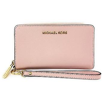 Michael kors jet set travel large phone wristlet blossom saffiano leather wallet